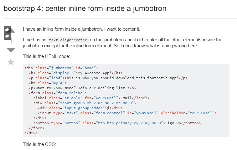 Bootstrap 4:  focus inline form  within a jumbotron