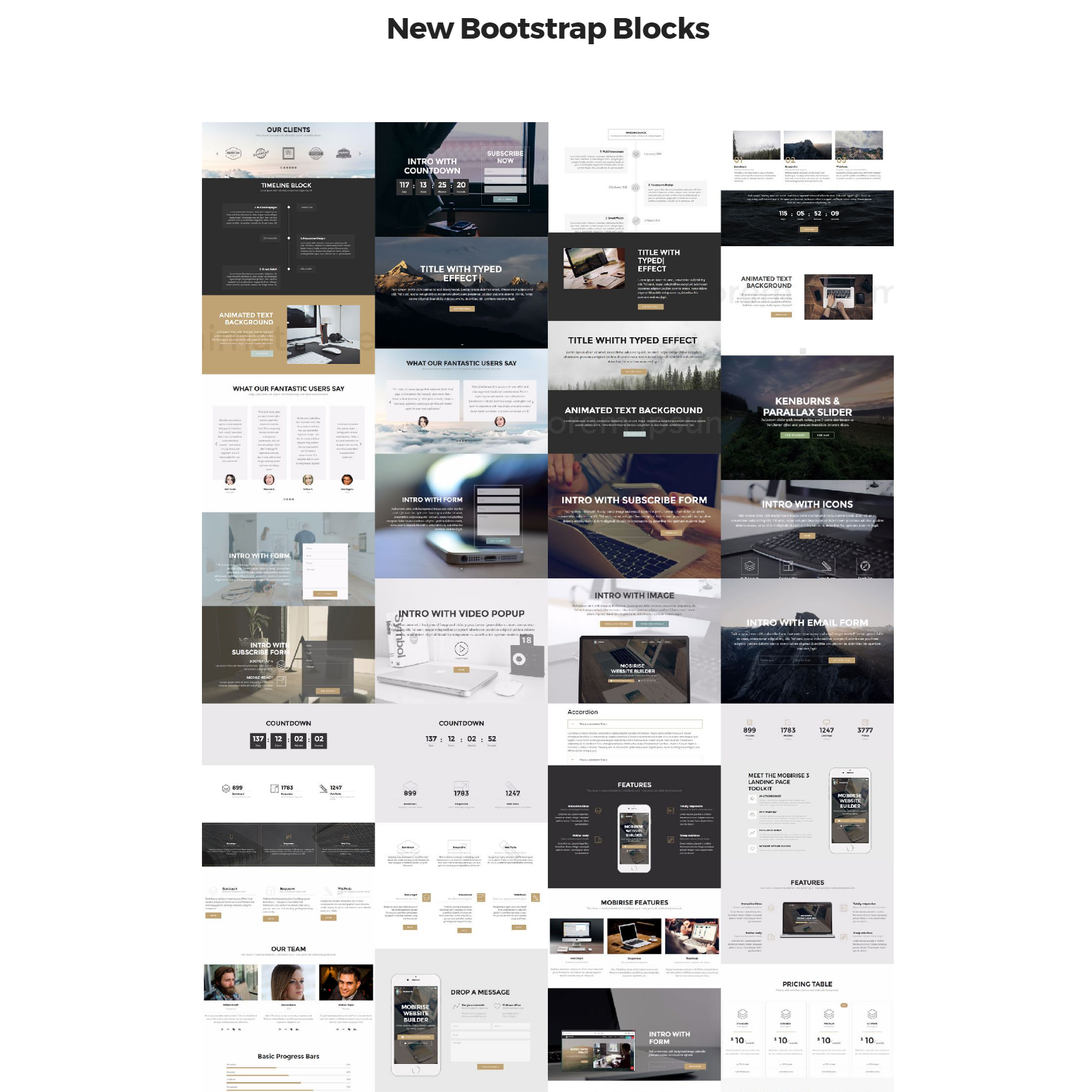 Responsive Bootstrap 4 mobile-friendly blocks Templates